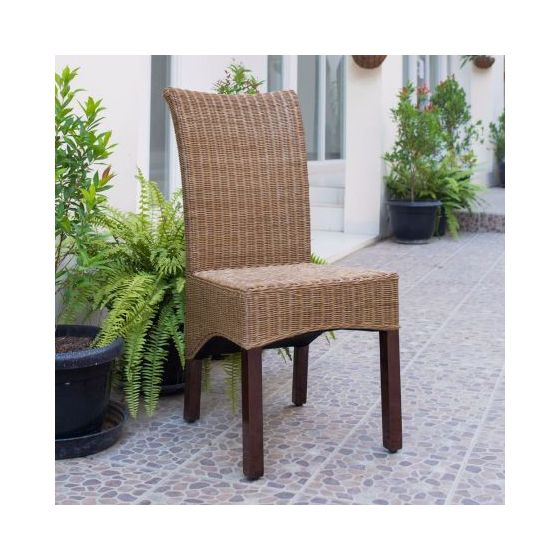 Campbell Rattan Wicker Dining Chair in Brown Mahogany