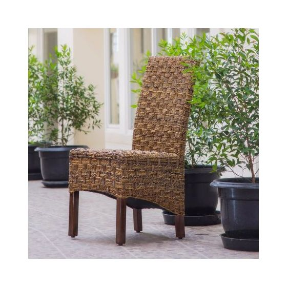 Manila Abaca/Rattan Wicker Dining Chair in Brown Mahogany