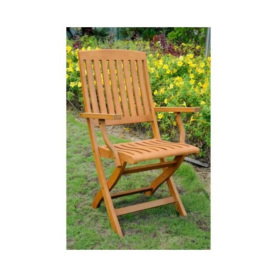 Royal Tahiti Set of 2 Folding Arm Chairs in Brown Stain