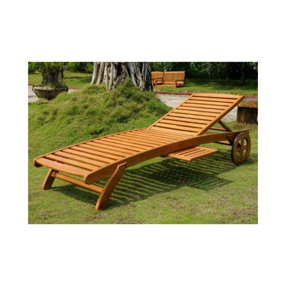 Royal Tahiti Wood Chaise Lounge with Wheels in Brown Stain