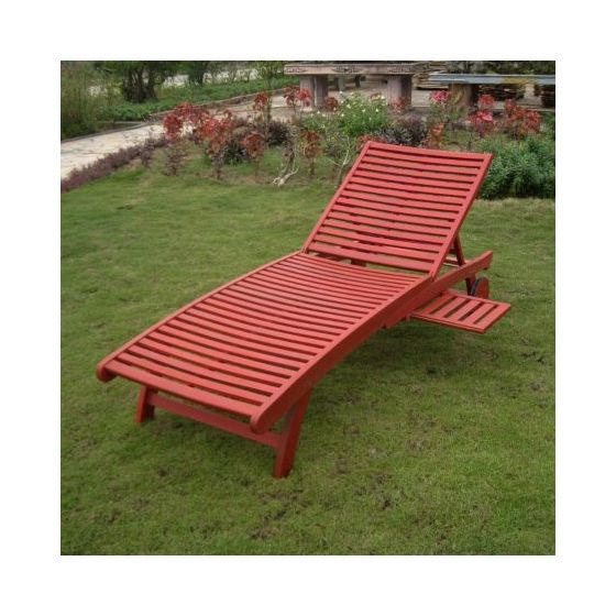 Acacia Chaise Lounge with Pull Out Tray with Barn Red