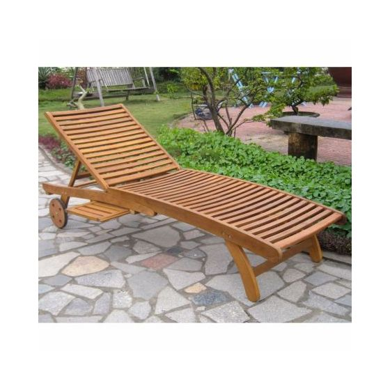 Acacia Chaise Lounge with Pull Out Tray in Rustic Brown