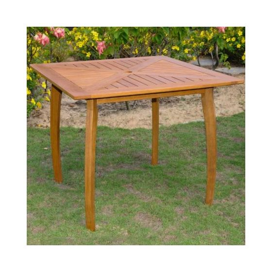 Royal Tahiti Outdoor 36 Square Wood Table In Brown Stain Patio End Tables Garden Furniture