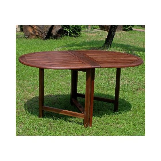 Highland Acacia Oval Gate Leg Folding Dining Table in Brown