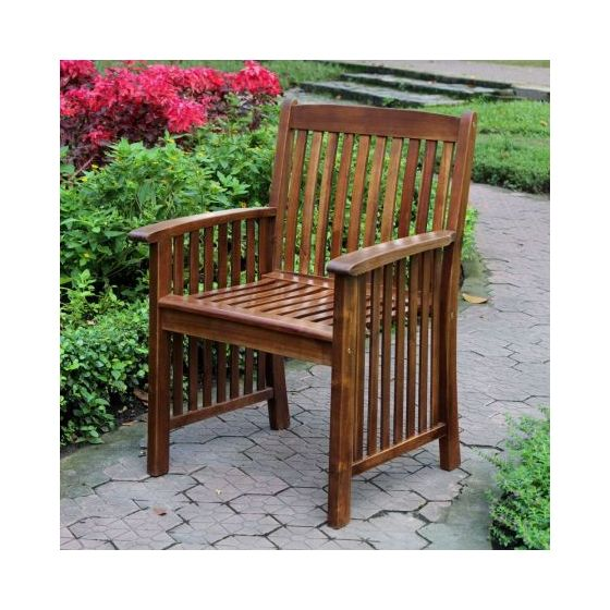 Highland Set of Two Acacia Denver Arm Chair in Brown