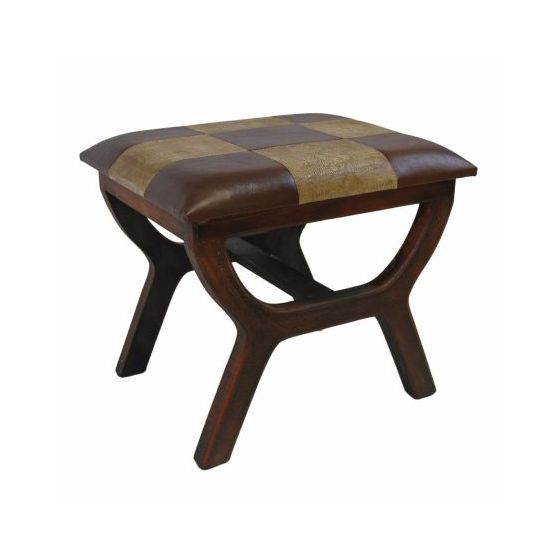 Faux Leather Rectangular Wood Stool in Mixed Patch Work