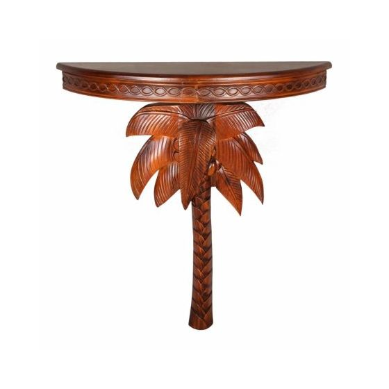 Windsor Carved Exotic Palm Tree Wall Table In Stain Accent Tables Living Room