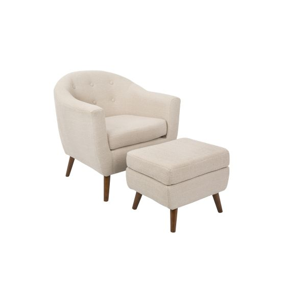 Rockwell Chair with Ottoman in Beige