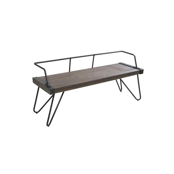 Stefani Antique Metal and Walnut Wood Industrial Bench