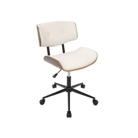 Lombardi Office Chair with Swivel in Walnut and Cream