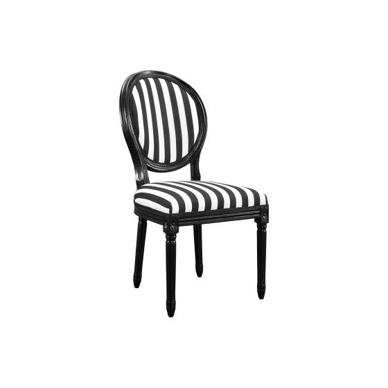 Black and White Stripe Chair - (Set of 2)