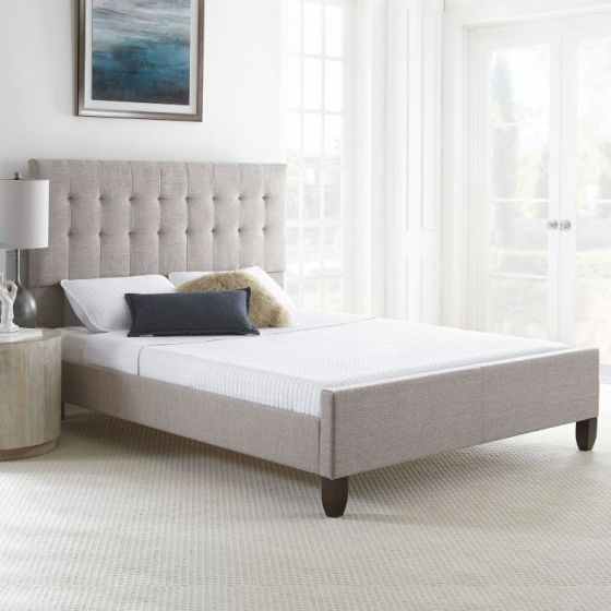 Clara Tweed Queen Bed with Mattress in Grey
