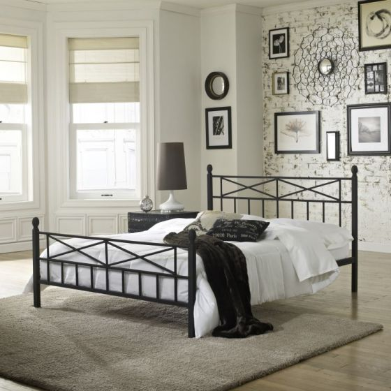 Kaiden Queen Bed with Mattress in Black