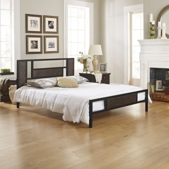 Tinsley Metal Platform Bed in Black/Bronze