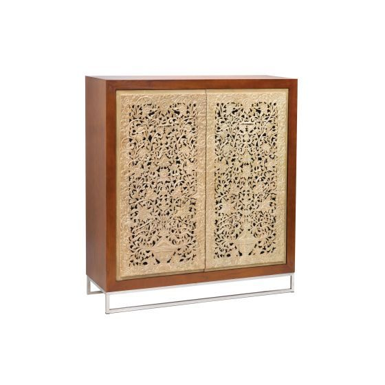Mango Wood Dark Brown Cream Cabinet