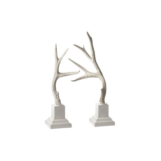Weathered Resin Buck Antlers On White Base - Set of 2