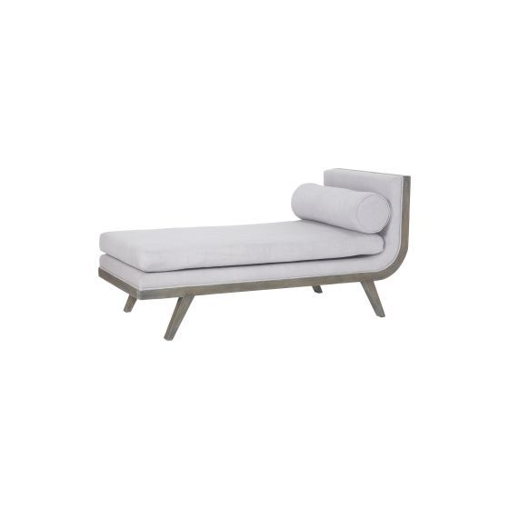 Sir David Waterfront Grey Stain Upholstered Chaise Lounge