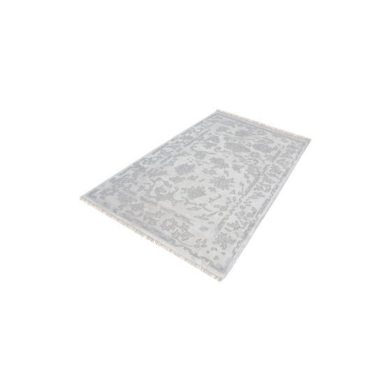 Harappa Handknotted Wool Rug In Silver & Ivory - 9ft x 12ft