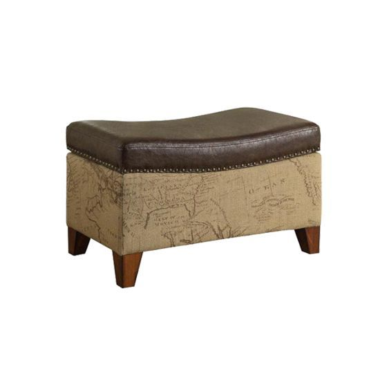 Storage Ottoman in Map Jute Fabric with Vintage Brown