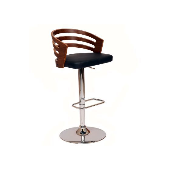 Adele Barstool In Black PU/ Walnut Veneer and Chrome Base