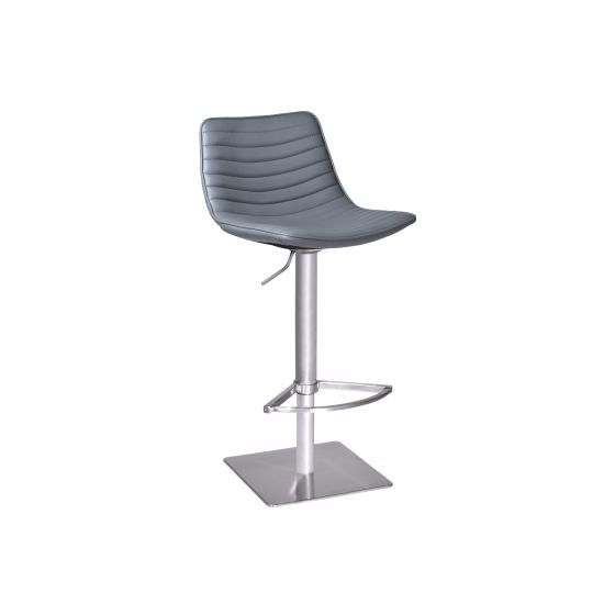 Luna Swivel Barstool in Brushed Stainless Steel with Grey Pu