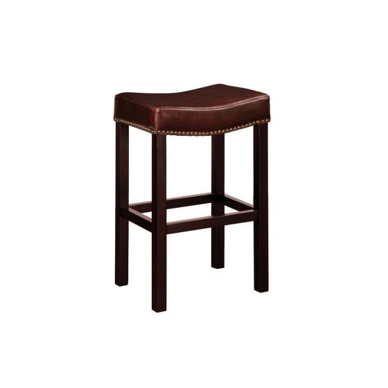 Tudor Backless 30'' Stationary Barstool In Brown leather