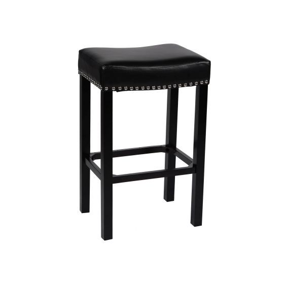 Tudor 26'' Stool Black Bonded Leather with Chrome Nails