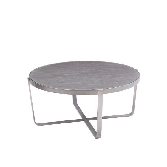 Nova Coffee Table in Brushed Stainless Steel with Grey Top