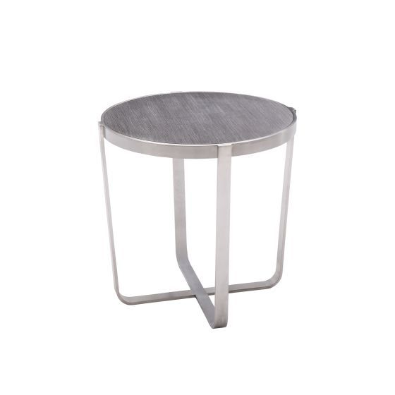 Nova End Table in Brushed Stainless Steel with Grey Top