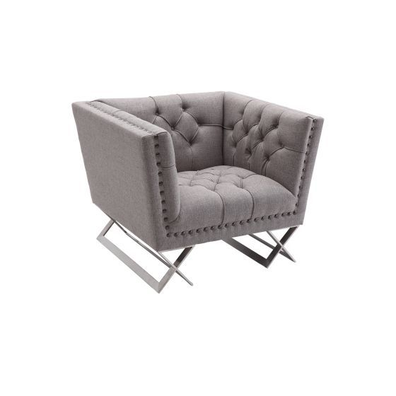Odyssey Chair in Brushed Stainless Steel with Grey Tweed