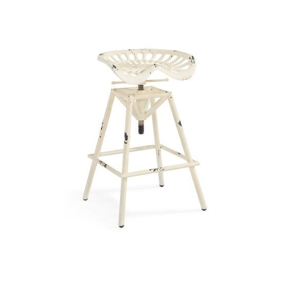 Osbourne Adjustable Industrial Barstool in Antique White