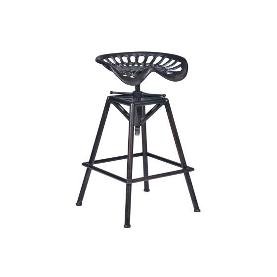 Osbourne Adjustable Swivel Barstool in Copper Finish & Seat