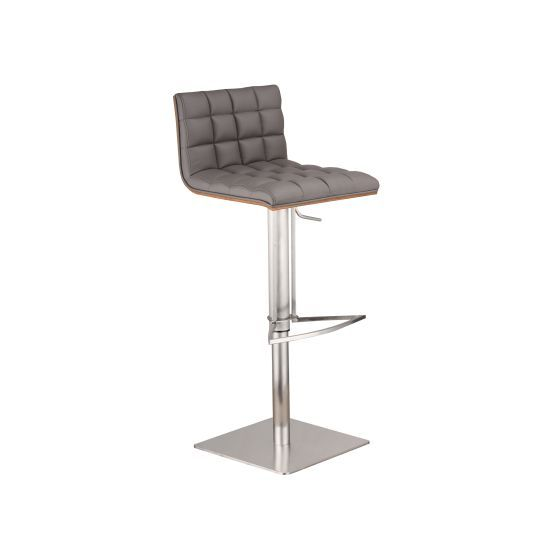 Oslo Adjustable Brushed Stainless Steel Barstool in Gray Pu