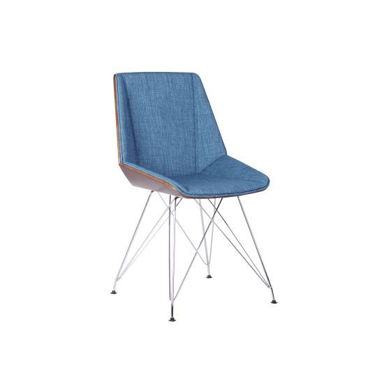 Pandora Chair in Chrome with Walnut wood and Blue Fabric