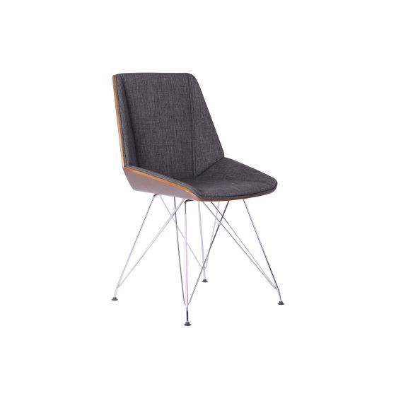 Pandora Chair in Chrome with Walnut wood and Charcoal Fabric