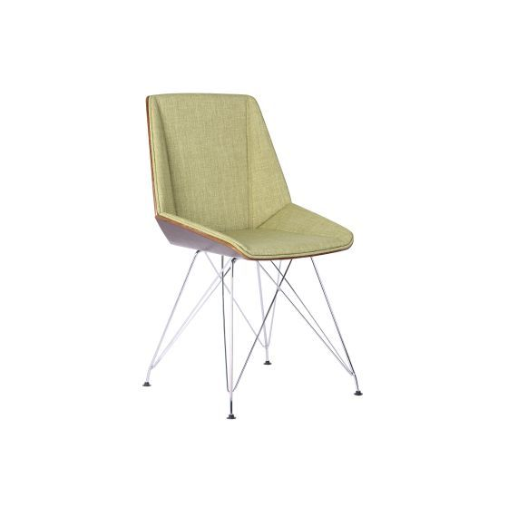 Pandora Chair in Chrome with Walnut wood and Green Fabric