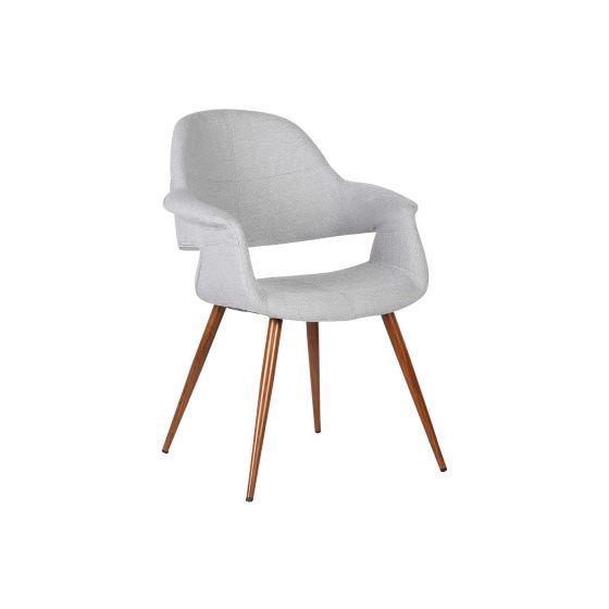 Phoebe Mid-Century Dining Chair in Walnut and Gray Fabric