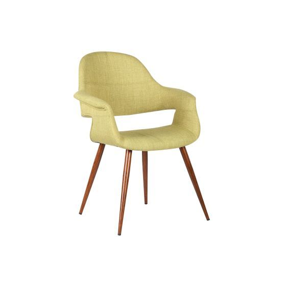 Phoebe Mid-Century Dining Chair in Walnut and Green Fabric