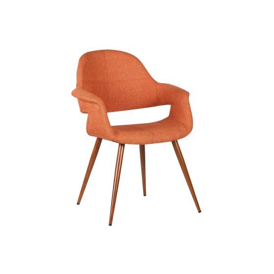 Phoebe Mid-Century Dining Chair in Walnut and Orange Fabric