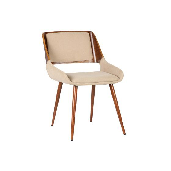 Panda Mid-Century Dining Chair in Walnut and Brown Fabric