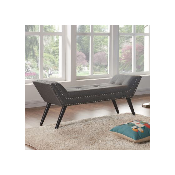 Porter Ottoman Bench in Charcoal Fabric & Espresso Wood Legs