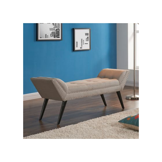 Porter Ottoman Bench in Taupe Fabric & Espresso Wood Legs