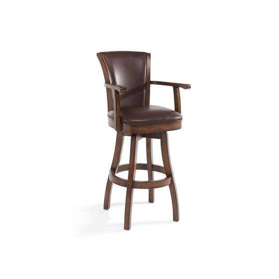 Raleigh Arm 30'' Bar Height Swivel Wood Barstool in Chestnut