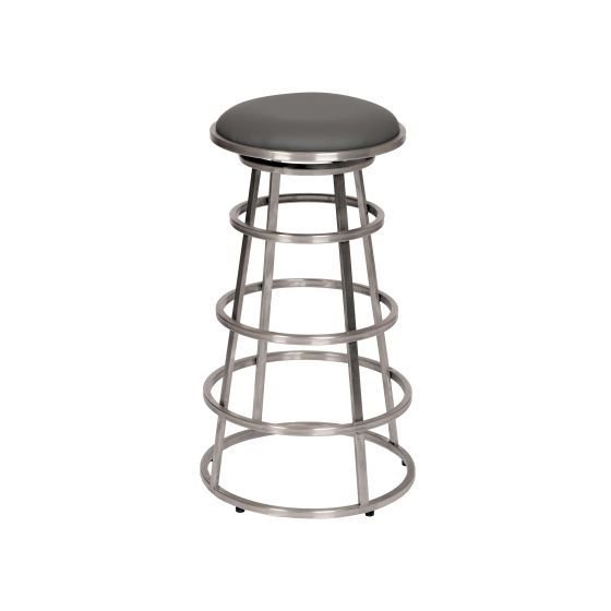 Ringo 26'' Brushed Stainless Steel Barstool in Gray Pu