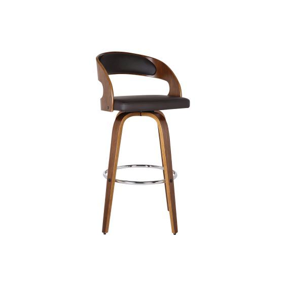 Shelly 30'' Bar Height Barstool in Walnut with Brown PU