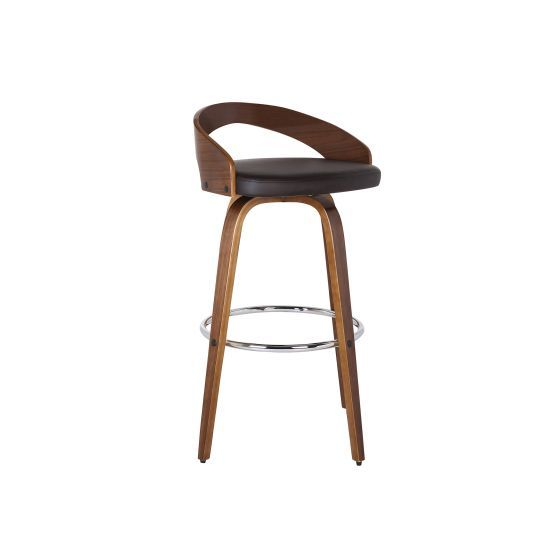 Sonia 30'' Bar Height Barstool in Walnut with Brown Pu