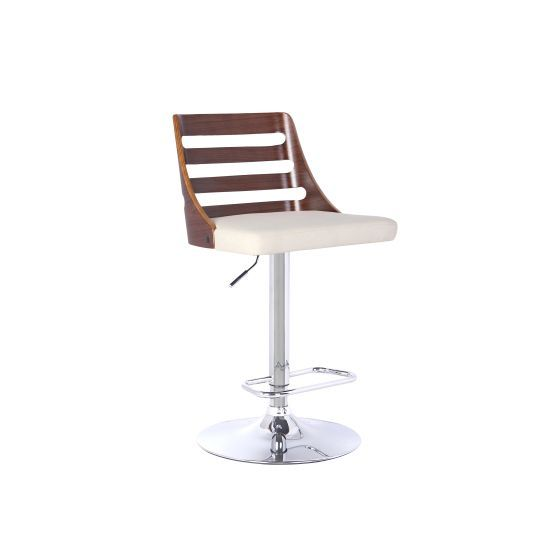 Storm Barstool in Chrome with Walnut wood and Cream Pu