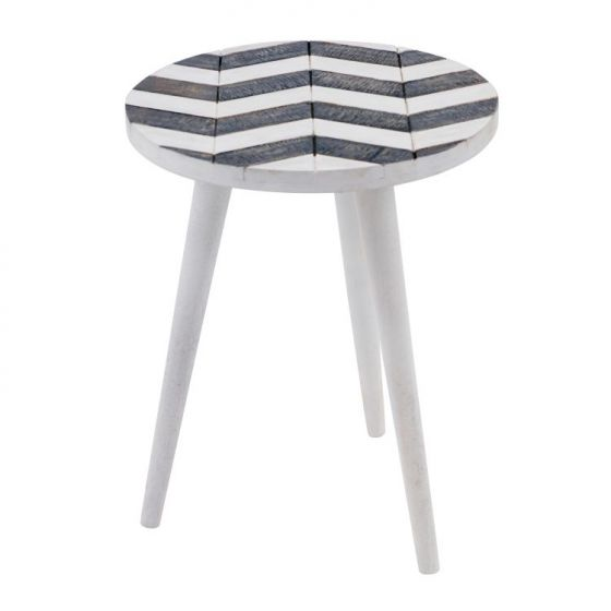 Mango Side Table in White/Gray