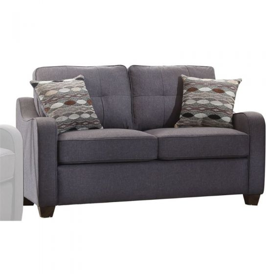 Cleavon II - Linen Ashley Loveseat and 2 Pillows in Grey
