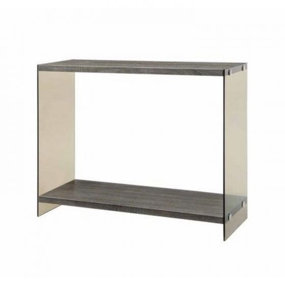 Wood and Glass Sofa Table in Grey